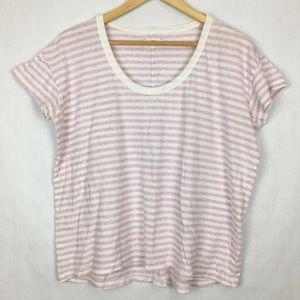 Caslon Pink & White Striped T-shirt Size L